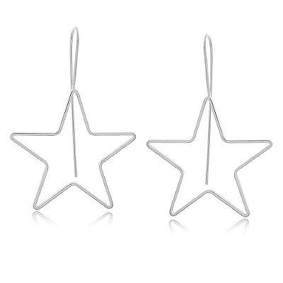 Brinco Ródio Branco Estrela Grande Vazada Pendurada