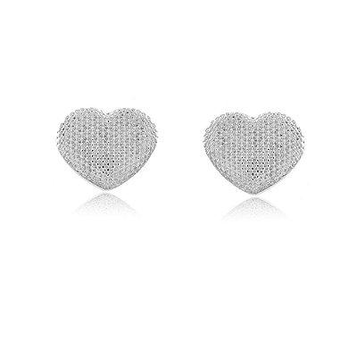 Brinco Ródio Branco Coração Médio Texturizado