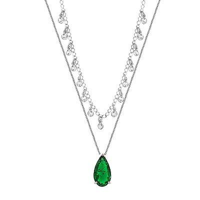 Colar Ródio Branco Duplo com Pontos de Luz e Pedra Fusion Verde Esmeralda