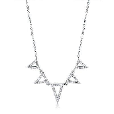 Colar Ródio Branco com Triângulos Invertidos Cravejado de Zircônia