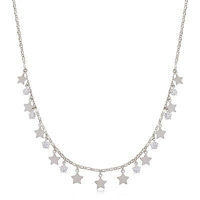 Colar Choker Ródio Branco Estrelas