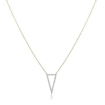 Colar Folheado Triângulo Vazado Cravejado de Zircônias