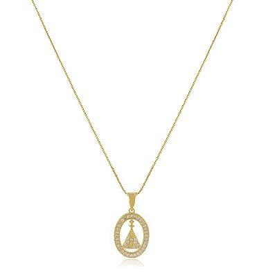 Colar Folheado Medalha Nossa Senhora Cravejada com Zircônias