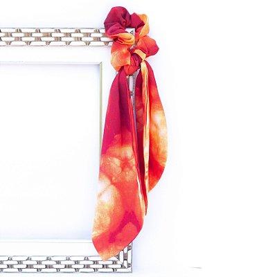 Scrunchie Estampa Tie Dye Laranja Com Laço Lenço