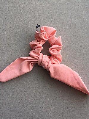 Scrunchie Amarrador De Cabelo Com Laço Rosa