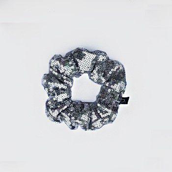 Scrunchie Amarrador De Cabelo De Paetê Prata