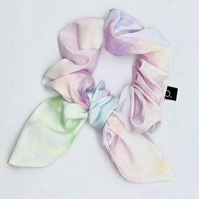 Scrunchie Amarrador De Tecido Tie Dye Com Laço