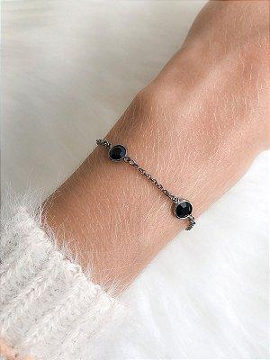 Pulseira Tiffany Ônix com banho de ródio negro regulável