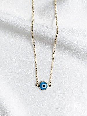 Colar gargantilha de olho grego folheado a ouro 18K