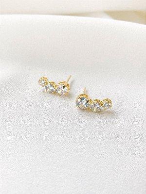 Brinco Ear cuff Glória com cristais banhado a ouro 18K