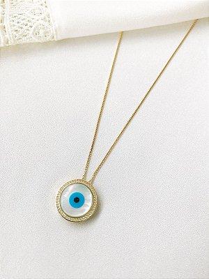Colar Olho Grego em madrepérola com cravação de zircônias banhado a ouro