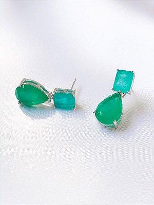 Brinco Fierce geométrico gota turmalina e esmeralda fusion prata