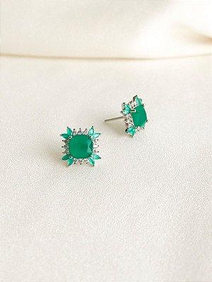 Brinco Green quadrado esmeralda com navetes turmalina em ródio branco