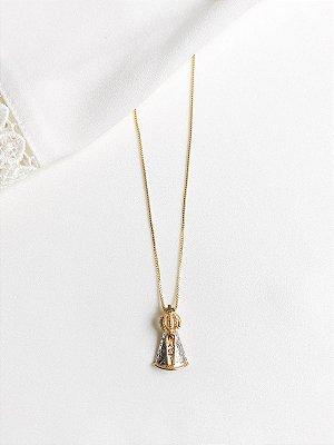 Colar Nossa Senhora Aparecida médio com manto em ouro branco