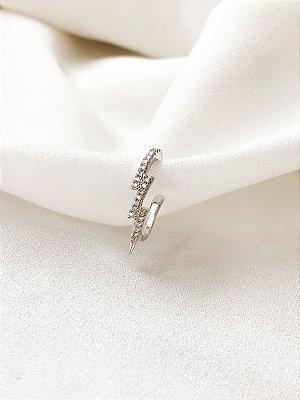 Piercing fake Raio de encaixe banhado a ródio com microcravação de zircônias