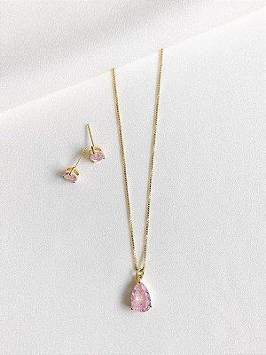 Conjunto Pink fusion dourado em gota banhado a ouro 18K