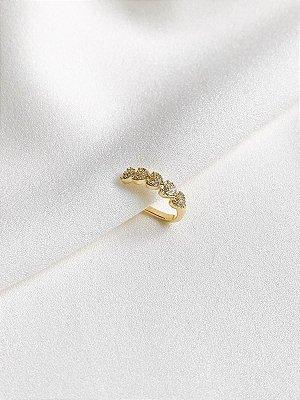 Piercing Fake Flora cravejado de zircônias banhado a ouro 18K