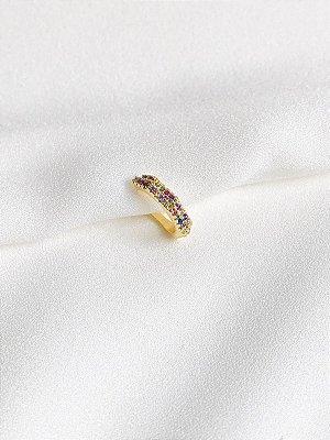 Piercing Rainbow com cravação de zircônias coloridas banhado a ouro 18K