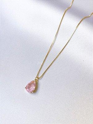 Colar em gota fusion pink banhado a ouro 18K