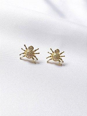 Brinco Spider cravejado em banho de ouro 18K