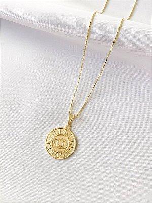 Colar Sol com medalha de olho grego banhado a ouro