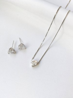 Conjunto Heart em coração prata básico banhado a ródio branco