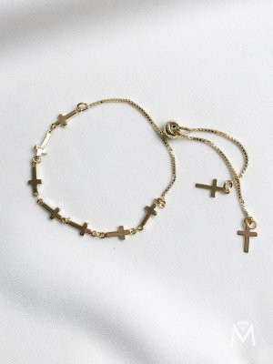 Pulseira Saint de crucifixos com fecho regulável banhada a ouro