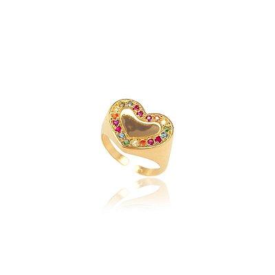 Anel Heart colorido regulável banhado a ouro