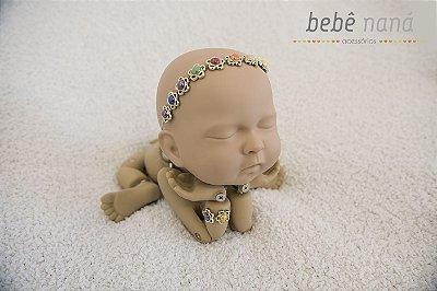 Conjunto Headband Colar Pedra e pulseira
