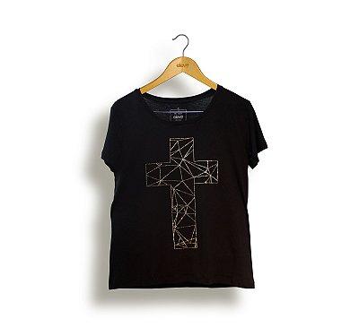 Camiseta Cruz Polígono Feminina - Preta