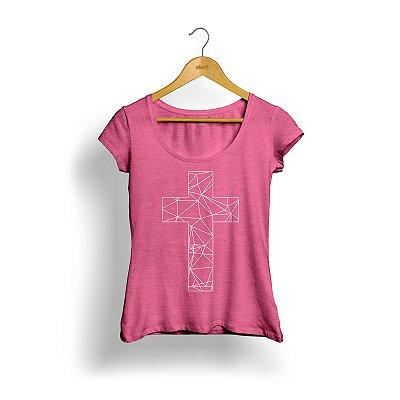 Camiseta Cruz (rosa) - feminina
