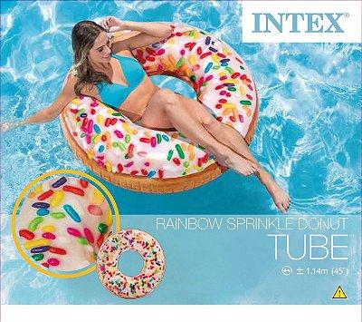 Boia Inflável Redonda Donut Granulado Colorido Intex