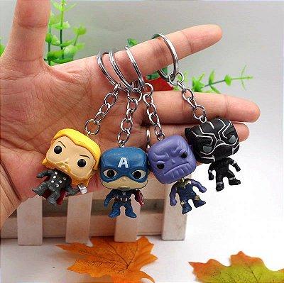 Combo 4 Chaveiros Avengers Marvel - Thanos + Capitão América + Thor + Black Panter