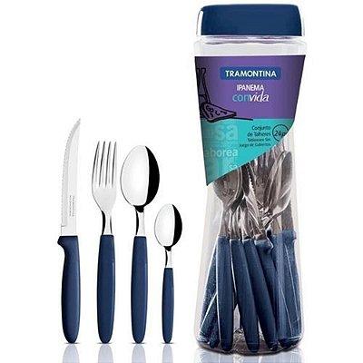 Faqueiro Ipanema 24 peças Tramontina azul