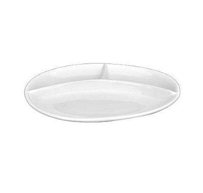 Petisqueira de porcelana oval 3 divisões Bot-Art