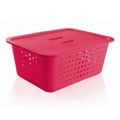 Caixa organizadora G rosa pink com tampa - Ou
