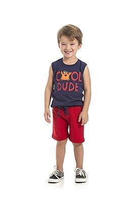 Conjunto Regata e Bermuda Cool Dude Vermelho - Pimentinha Kids