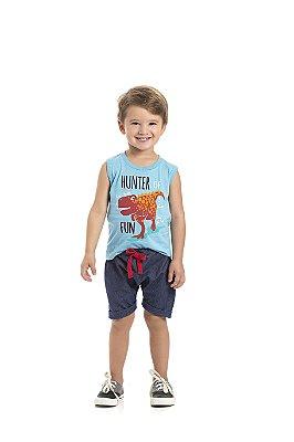 Conjunto Regata e bermuda Saruel Hunter Azul Claro - Pimentinha Kids