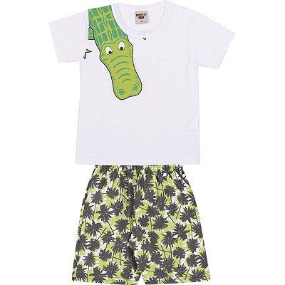 Conjunto Camiseta e Bermuda Jacaré Branco - Pimentinha Kids