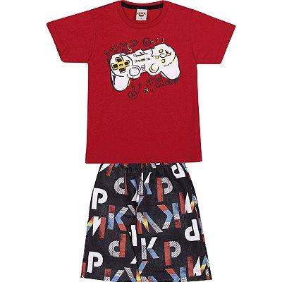 Conjunto Camiseta e Bermuda Game Vermelho - Pimentinha Kids