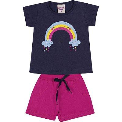 Conjunto Blusa e Short Arco-Íris Marinho e Pink - Pimentinha Kids