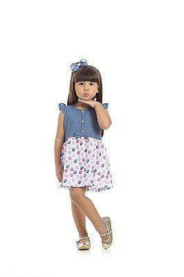 Vestido Cotton Cor Jeans Azul Claro Bolas Pink - Pimentinha Kids