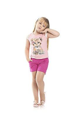 Conjunto Blusa e Short Cotton Jeans Leoa Rosa Claro e Pink - Pimentinha Kids
