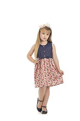 Vestido Cotton Jeans Marinho Com Vermelho - Pimentinha Kids