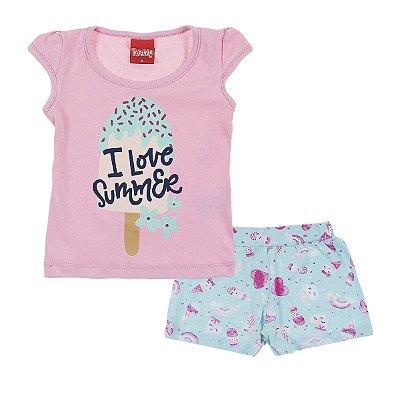 Conjunto Blusa e Short I Love Summer Lilac Sorvetes Verde - Trenzinho