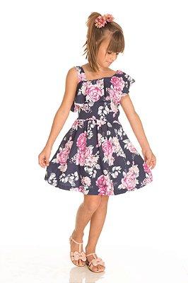 Vestido Floral Marinho - Trenzinho
