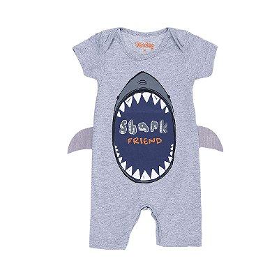 Macacão Tubarão Shark Cinza - Trenzinho