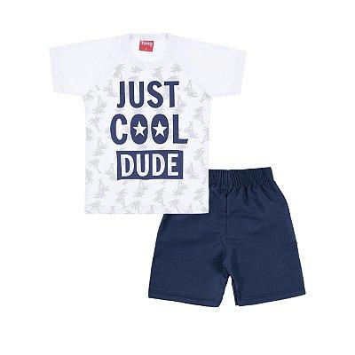 Conjunto Camiseta e Bermuda Just Cool Branco - Trenzinho