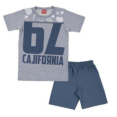 Conjunto Camiseta e Bermuda 62 California Mescla Azul - Trenzinho