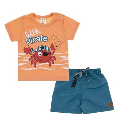 Conjunto Camiseta e Bermuda Little Pirate Laranja - Fantoni